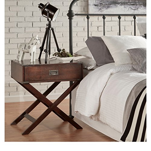 ModHaus Living Modern Wood Accent X Base Nightstand Campaign Sofa Table Rectangle Shaped with Storage Drawer - Includes Pen (Espresso)