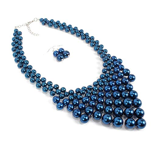 Faux Blue Pearl Collars Necklaces Classic Handwoven Beads Necklace for ()
