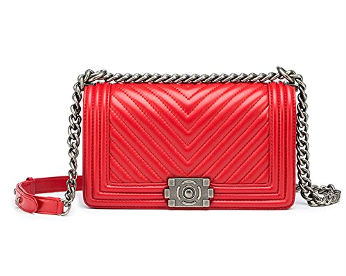 Handbag Red Lambskin (Fashion Women Real Leather Cross BodySilver Chain Bag Quilted Flap Purse (red v-style))