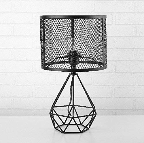 - Urban Shop 784857777147 Perforated Geo Table Lamp, Black