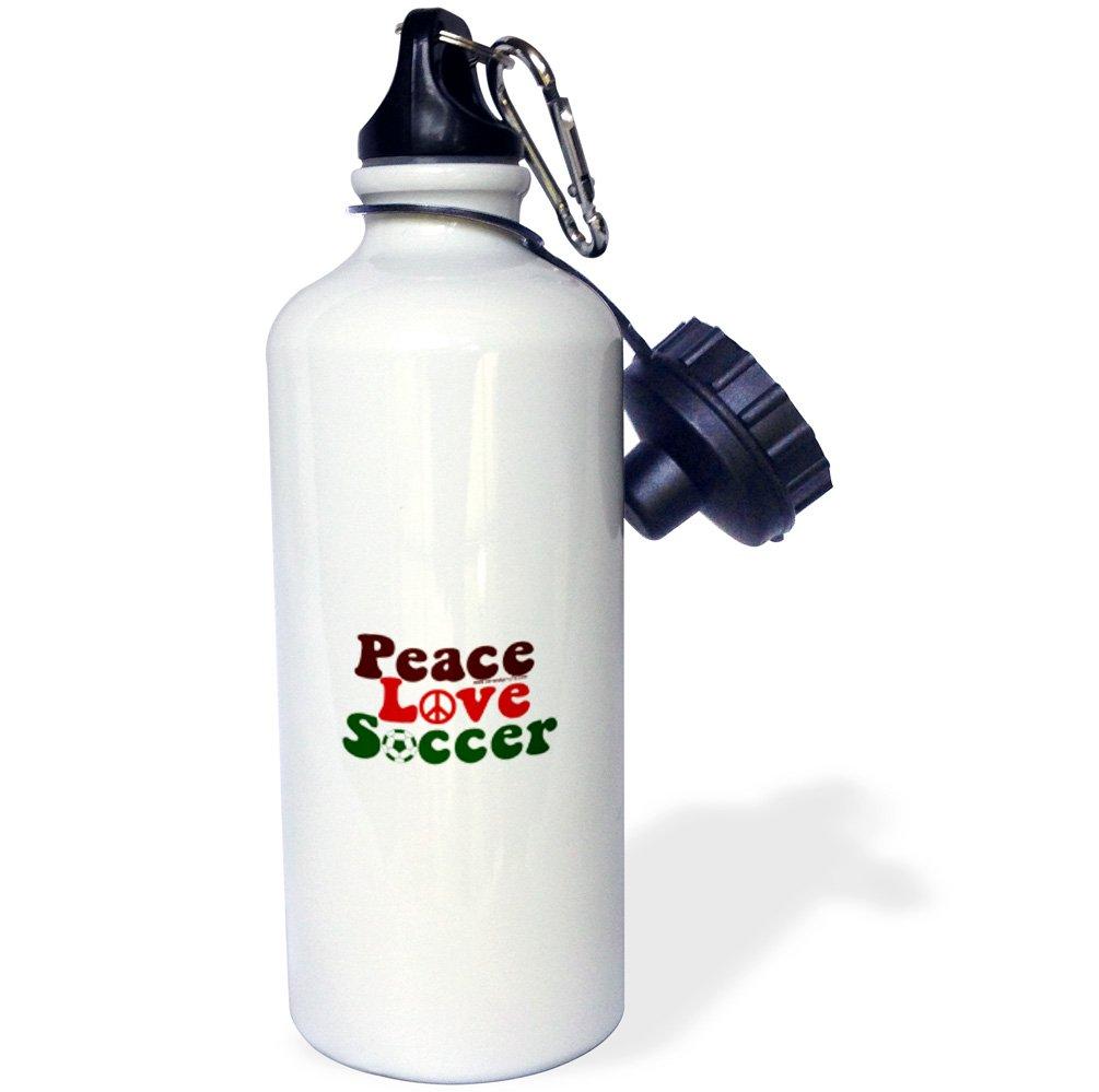 21 oz 3dRose wb/_16665/_1 Peace Love Soccer Sports Water Bottle White