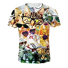 Honeystore Unisex 3d Printed Casual Summer Short Sleeve T-shirts Tees