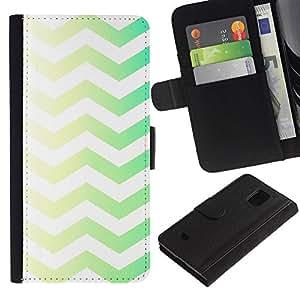 For Samsung Galaxy S5 Mini / Galaxy S5 Mini Duos / SM-G800 !!!NOT S5 REGULAR! ,S-type® Green Yellow Chevron White Clean Pattern - Dibujo PU billetera de cuero Funda Case Caso de la piel de la bolsa protectora