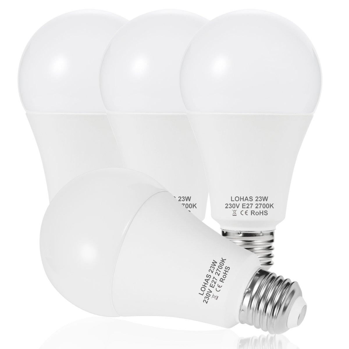 23 W (200 W) Bombilla LED E27, LOHAS No-Regulable rosca Edison bombillas de luz, 2500 lúmenes, Blanco Calído 2700K, 240 ° ángulo de haz, Bombilla de bajo consumo, Paquete de 4 Unidades 2500 lúmenes Blanco Calído 2700K GK Lighting