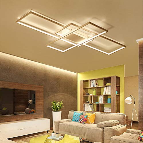 - LED Living Room Dining Room Flush Mount Ceiling Light Fixtures Ceiling Hanging Lighting Dimmable Remote Acrylic Chandeliers Modern Designer 3 Rectangle Hotel Lobby Kitchen Bedroom Decor Ceiling Lamp