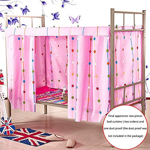 (Heidi Star String Bed Canopy Single Sleeper Bunk Bed Curtain Student Dormitory Blackout Cloth Mosquito Nets Bedding Tent (Pink))