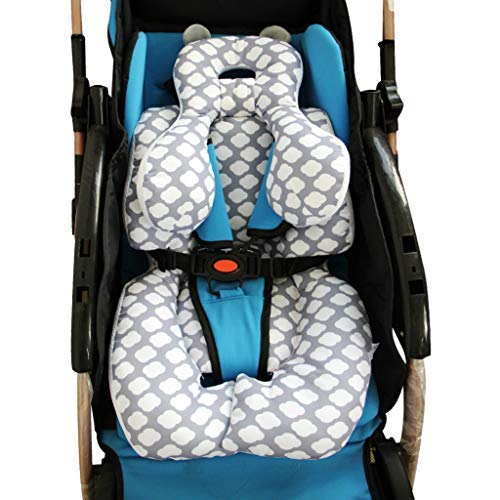 Infant Car Seat Insert, KAKIBLIN Cotton Baby Stroller Liner Head and Body Support Pillow, Infant Seat Pad Carseat Neck Support Cushion for Toddler (Cloud)