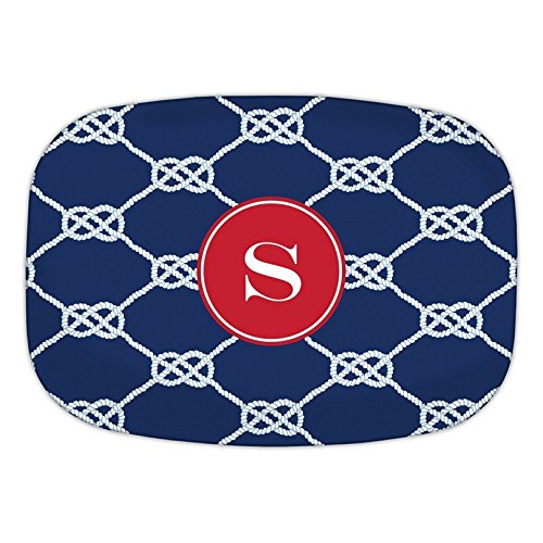Boatman Geller Nautical Knot Melamine Platter with Single Initial, Z, Multicolored