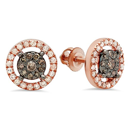 0.50 Carat (Ctw) 14K Rose Gold Round Champagne & White Diamond Ladies Cluster Style Stud Earrings 1/2 CT by DazzlingRock Collection