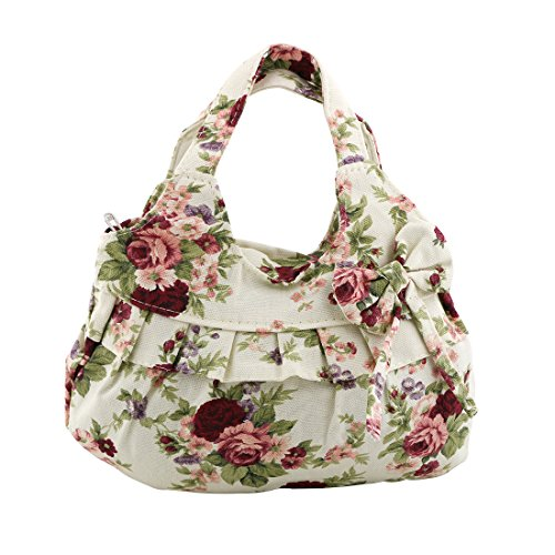 Red Zipper Women flower flower Print Bag Tote Vicloon Shoulder Casual Bowknot Floral Flower Red Canvas Handbag Uwd6q0gZ