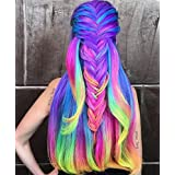 Colored Clip In On Synthetic Hair Extensions for Kids Girls Party Multiple Rainbow Color 48CM 14PCS