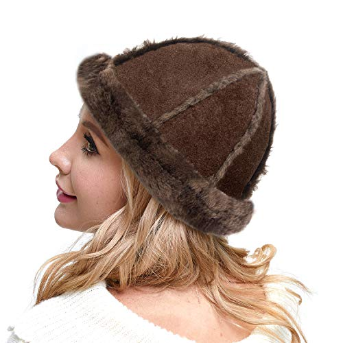 IKEPOD Australia Shearing Sheepskin Lined Suede Bucket Hat Winter - Chocolate