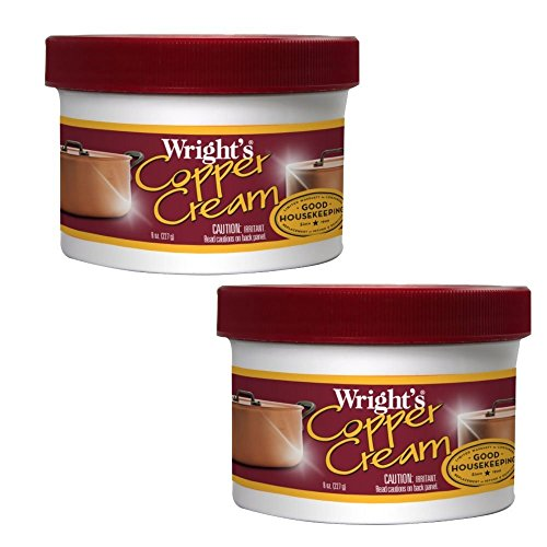 Wright's Copper and Brass Polish and Cleaner Cream- 8 Ounce - 2 Pack - Gently Clean and Remove Tarnish Without Scratching (Copper And Brass)