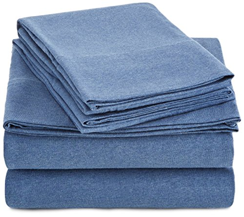 Amazonbasics Heather Cotton Jersey Bed Sheet Set Queen Chambray Blue