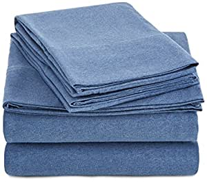 Amazon Basics Juego de sábanas de Jersey Jaspeado - Individual Extragrande, Azul Chambray