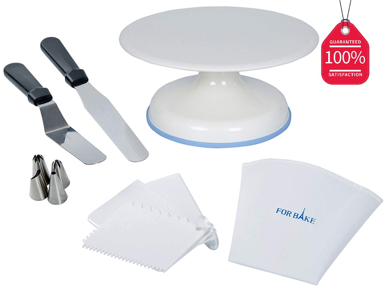 FOR BAKE Cake Decorating Supplies,(Upgrade) Bearing Axis Rotating Cake turntable-White Cake Decoration Stand with 2 Icing Spatulas and Reusable Piping Tips Set by FOR BAKE