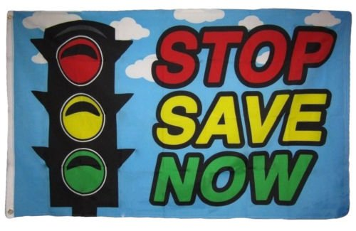 Moon Knives 3x5 Stop Save Now Sign Stop Light Premium Flag 3