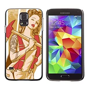 Designer Depo Hard Protection Case for Samsung Galaxy S5 / Cool Retro Pin Up Girl Tattoo