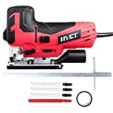 Goplus 6.5 Amp Laser Jig Saw with LED Light Hand Power Tool Variable Speed Includes 4 Blades Metal Guide Ruler