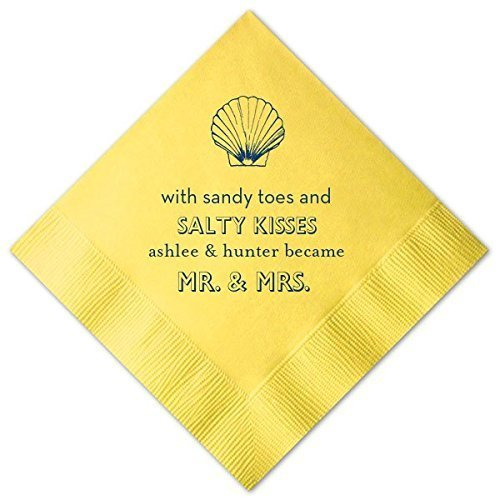 Beach Personalized Wedding Napkins Custom Name Decor Luncheon Dinner Napkins & Guest Towels 6 (Beach Rehearsal Dinner Invitations)