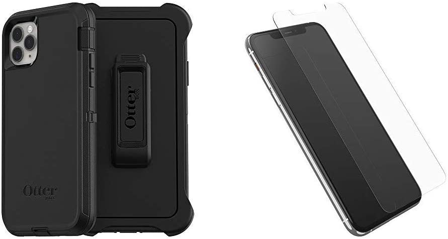 OtterBox Defender Series SCREENLESS Edition Case for iPhone 11 Pro Max - Black Bundle with OtterBox Alpha Glass Series Screen Protector for iPhone 11 Pro Max - Clear