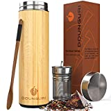 DOUNGURI Bamboo Tea Tumbler Mug with Strainer Infuser - 18 oz...