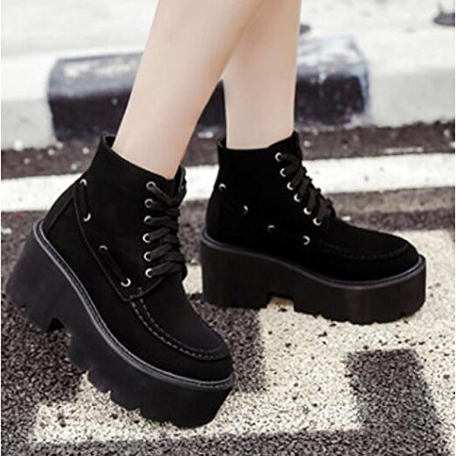 ZHZNVX Chunky Shoes Boots Casual Comfort HSXZ Brown Black Women's Winter Black Booties PU for Fall Heel Closed Toe Ankle Boots r8RrqEw