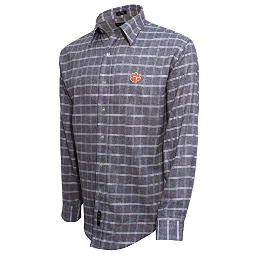 - Vesi NCAA Clemson Tigers Men's Brushed Cotton Shirt, Gray/White, Medium