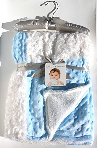 Blankets & Beyond Rosette and Dots Baby Blanket, Blue and White W/ Decorative Satin Hanger