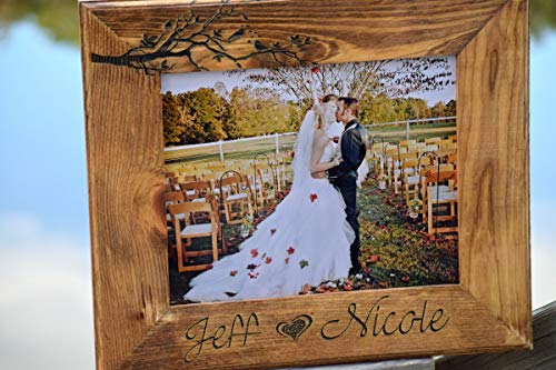 (Love Birds Wooden Frame - Picture Frame - Wedding Gift - Personalized Gift - Customized Wooden Picture Frame - Christmas Gift Laser Engraved)