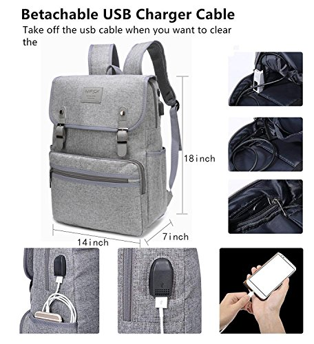 Laptop Backpack Men Women Business Travel Computer Backpack School College Bookbag Stylish Water Resistant Vintage Backpack with USB Port Fashion GREY Fits 15.6 Inch Laptop and Notebook by HFSX (Image #1)