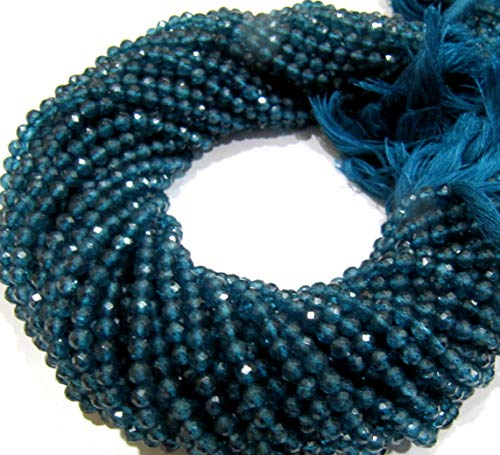 AAA Quality Natural London Blue Topaz Round Faceted 4mm Beads Strand 13 Inches Long Blue Color Jewelry Making Beads Sold Per Strand