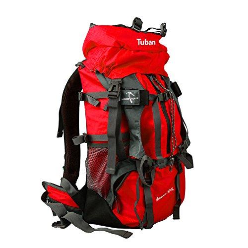 ym-large Outdoor Rucksack Bergsteigen Tasche Damen und Herren Schultertasche große Kapazität Tasche Reisen Rucksack Wandern 50+ 5L, rot (Rot) - 7358956879335