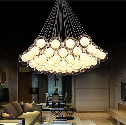 FidgetGear Modern Glass Ball Bubble LED Pendant Lamp Chandelier Ceiling Lights with G4 Bulb Cool White 15 Heads by FidgetGear (Image #3)