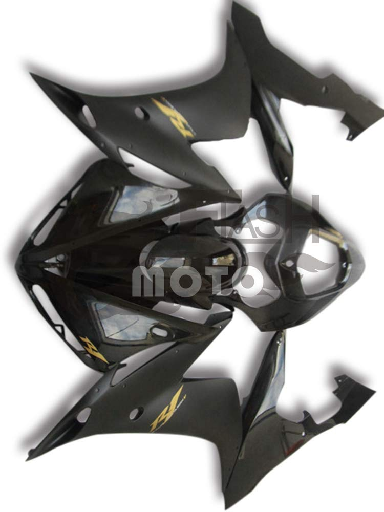 FlashMoto yamaha ヤマハ YZF-1000 R1 2004 2005 2006用フェアリング 塗装済 オートバイ用射出成型ABS樹脂ボディワークのフェアリングキットセット ブラック   B07LF2SWFC