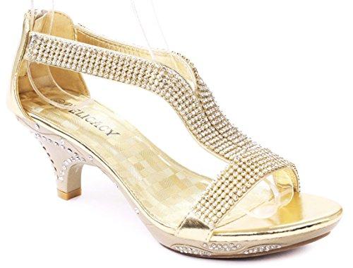 Delicacy Women Lety73 Rhinestone T-Strap Evening Dancing Dress Low Heel Sandals,Gold,10
