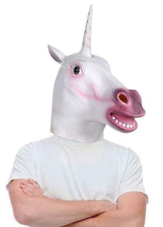Amazon.com: Lubber Unicorn Halloween Costume Latex Animal Head ...