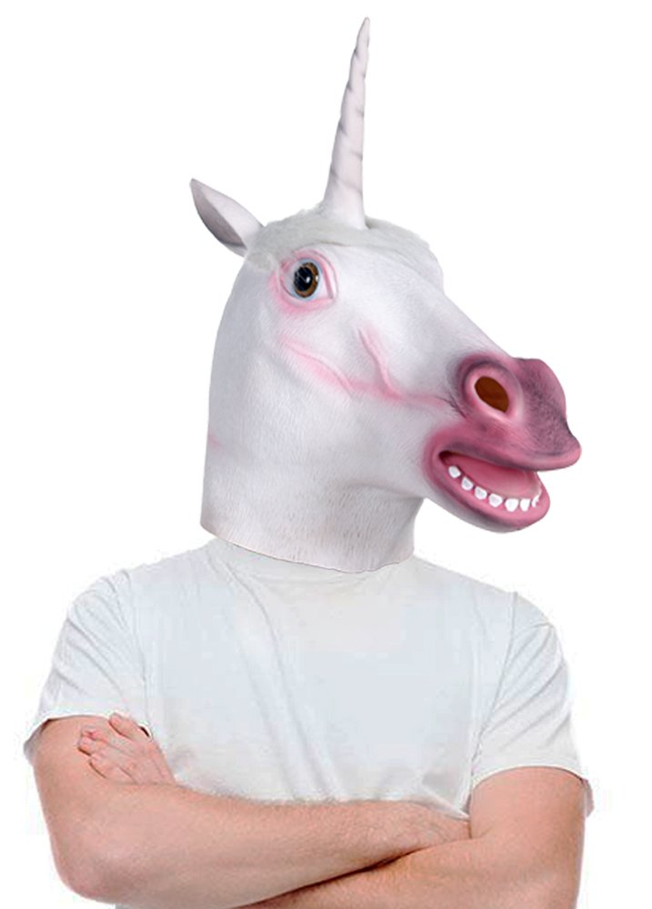Lubber Unicorn Halloween Costume Latex Animal Head Mask