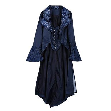 Yvelands Mujeres Steampunk Gótico Outwear Abrigo Largo de Terciopelo Medieval Chaqueta de Abrigo de Solapa Vintage