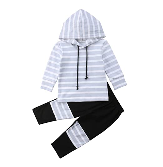 e1b8a9680 2Pcs Newborn Infant Baby Boy Girl Long Sleeve Hooded Striped Sweatshirt Top  Black Pants Outfit Set