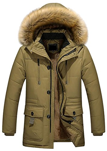 Fur Fulok Parka Khaki Coat Winter Hoodie Mens Faux Slim Zipper Casual Warm S7ITB