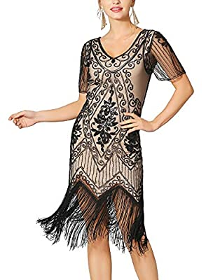 Radtengle Women's 1920s Flapper Dress Beaded Fringed Gatsby Dress with Short Sleeves for Roaring 20s Party