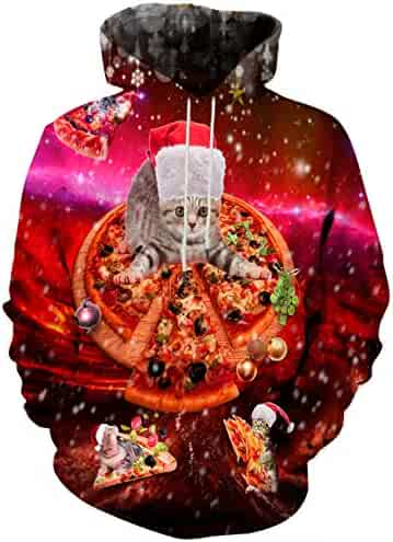 b17e86460dd846 Hgvoetty Unisex Realistic 3D Print Galaxy Pullover Hooded Hoodies with Big  Pocket