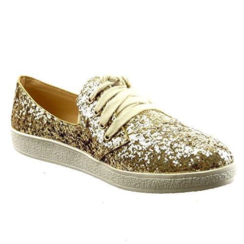 Sopily - Scarpe da Moda Sneaker alla caviglia donna lucide paillette Tacco a blocco 2 CM - Oro