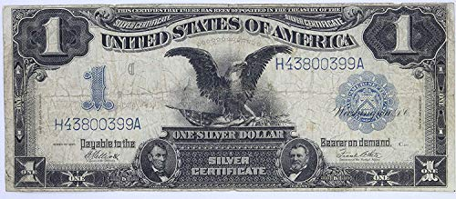 1899 Black Eagle Silver Certificate One Dollar Note Blue Seal $1 Very Fine #58 ()