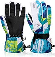 FengNiao Ski Gloves, Winter Thermal Waterproof Gloves Snowboard 3M Thinsulate Snow Snowmobile Gloves for Men W