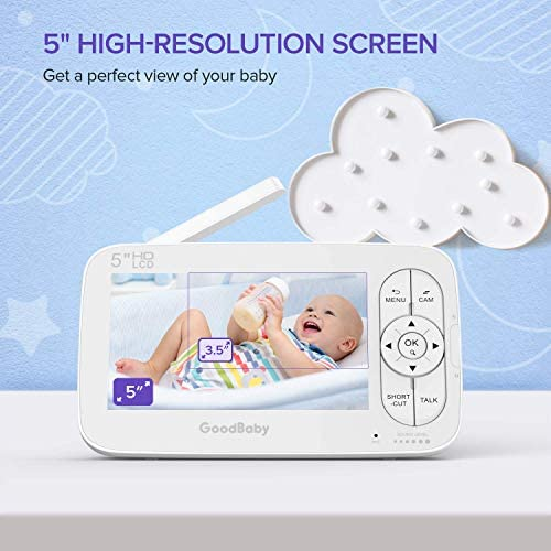"""51yk8oceOfL. AC - GOODBABY Real 720P 5"""" HD Display Video Baby Monitor With Camera And Audio, Remote Pan&Tilt&Zoom, Two-Way Talk,Temperature Monitor, Night Vision, Lullaby Player, 960ft Range"""