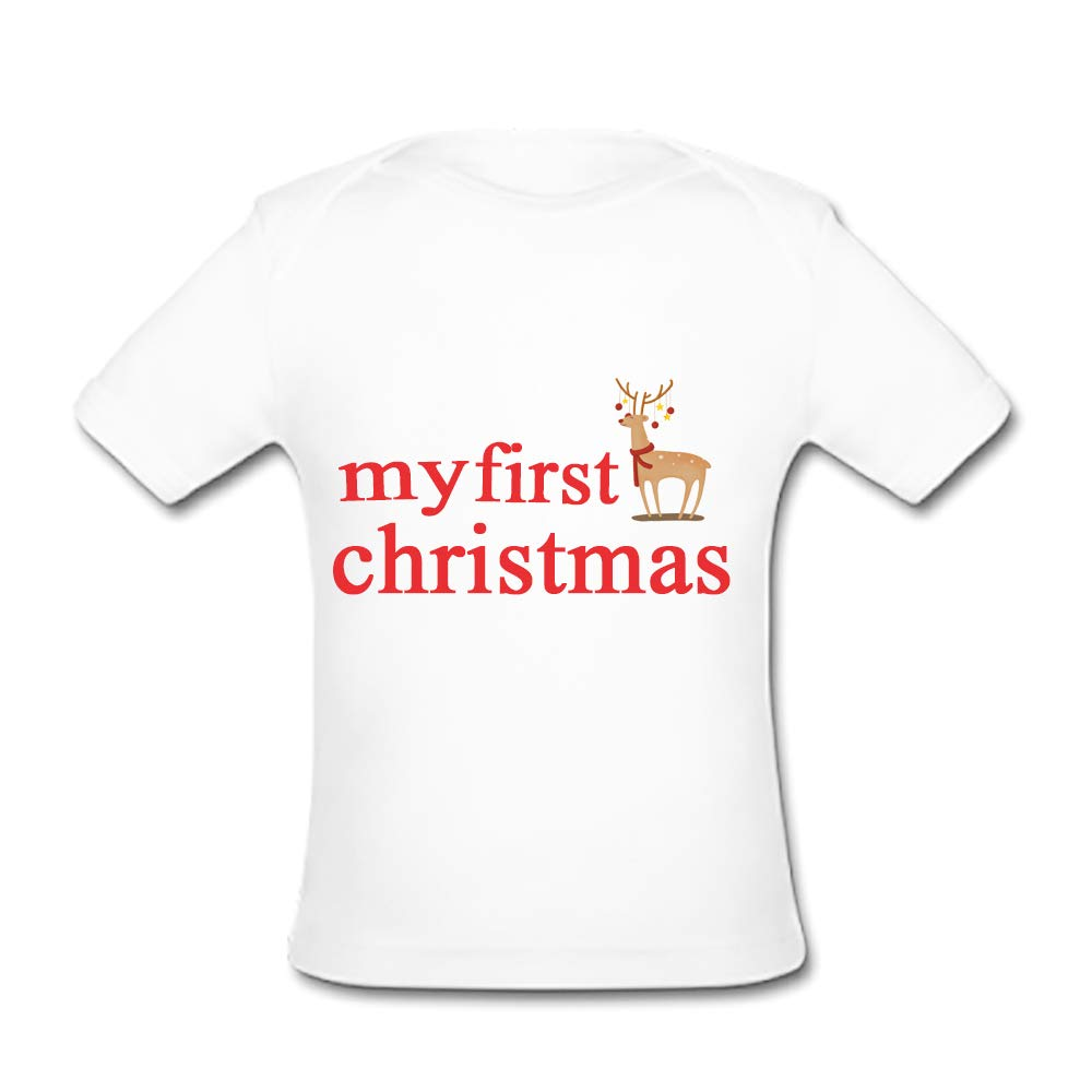 UlanLi Infant Tee My First Christmas Baby Organic Short Sleeve T-Shirt White