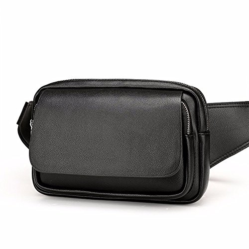 bolsa los de Black Brown Mobile cuero bolsillo Surnoy hombro Black capacidad Bag Phone ocio de de cintura Solo de hombres transversal de pecho gran sección Bolso Brown de pnFFXY6wq