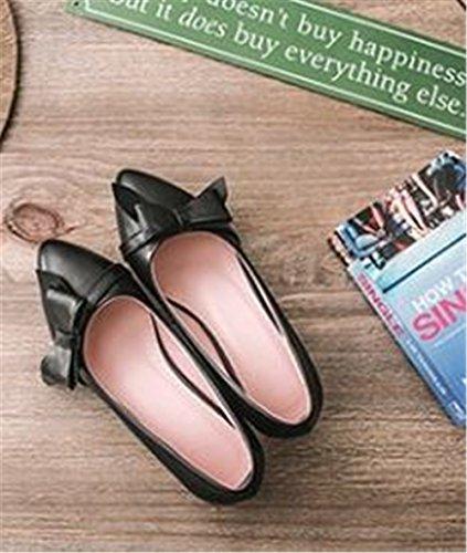 Women's Comfort Flats Ballerina Toe Ballet Flat Classic On Shoes Black Slip Pointy rwSX7xrT